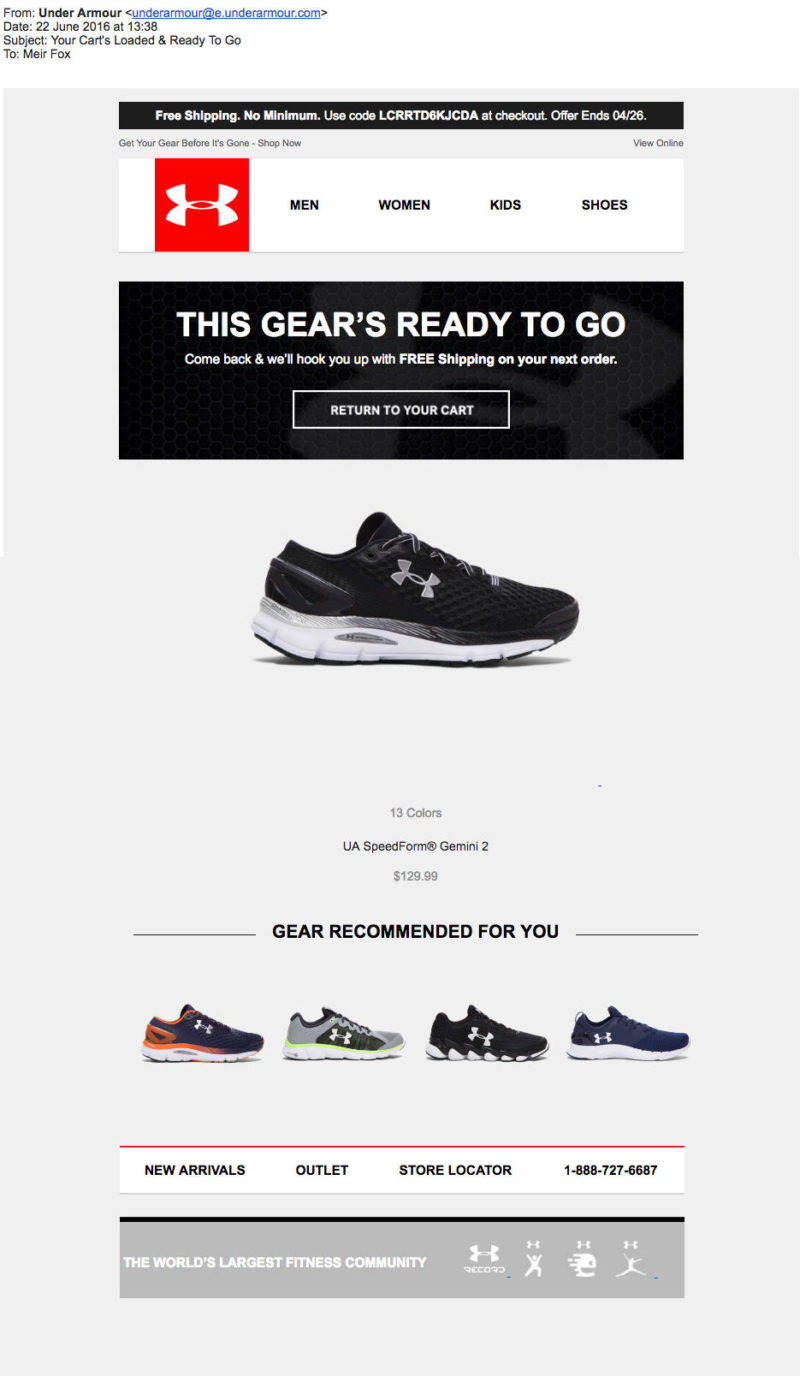 Under Armour cart recovery email
