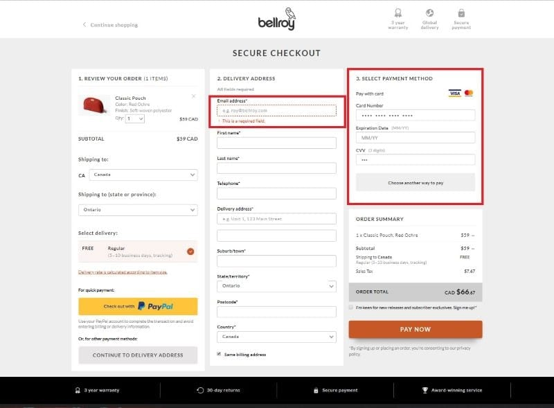 Bellroy's false single-page checkout with stage being required highlighted