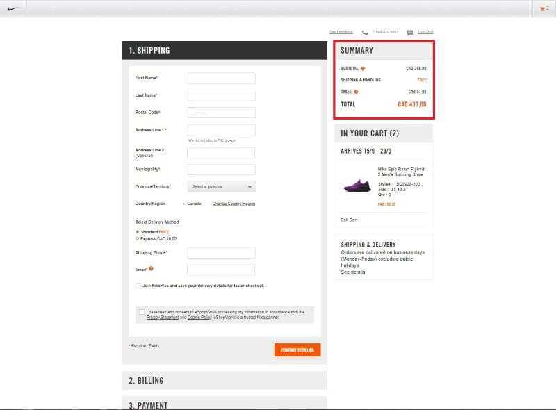 Example of checkout summary highlighted on Nike's checkout page