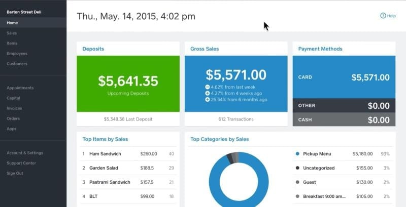 Example of Square checkout dashboard