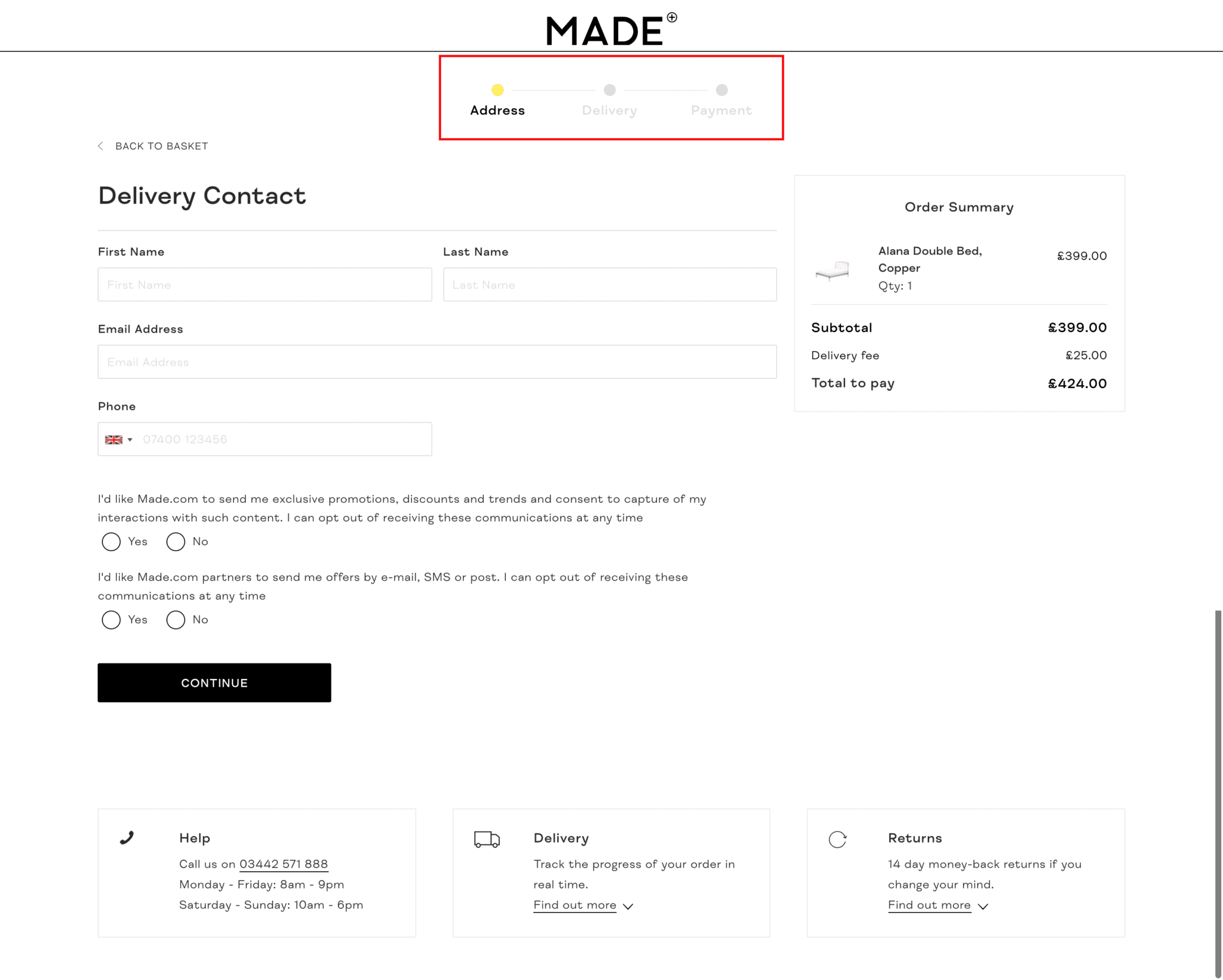 Made checkout with progress indicators highlighted