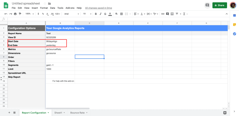 Where to enter date ranges in Google Sheets