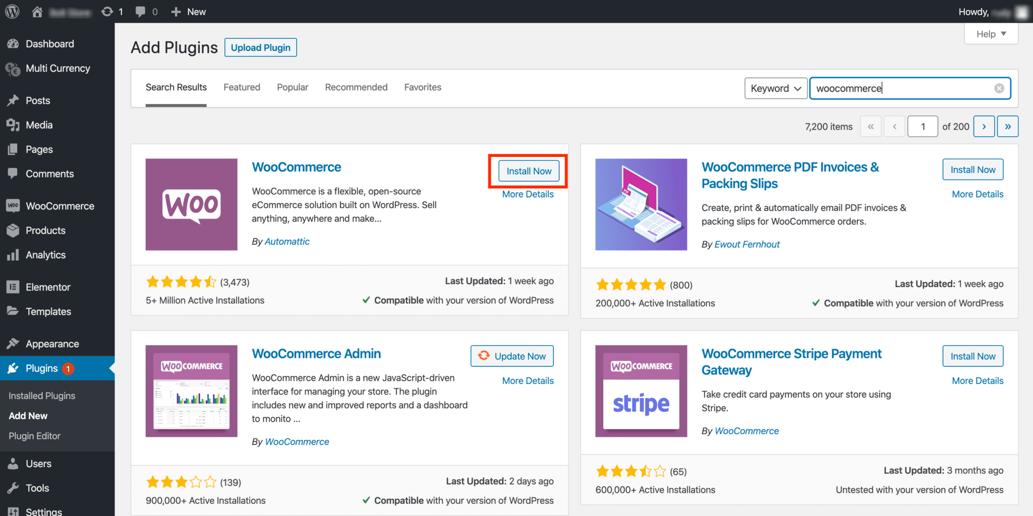 "Screenshot of Add Plugins screen with WooCommerce app up and ""Install Now"" highlighted"