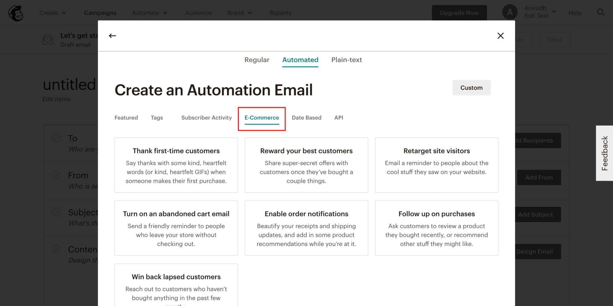 Screenshot of Create an Automation menu with E-commerce tab highlighted