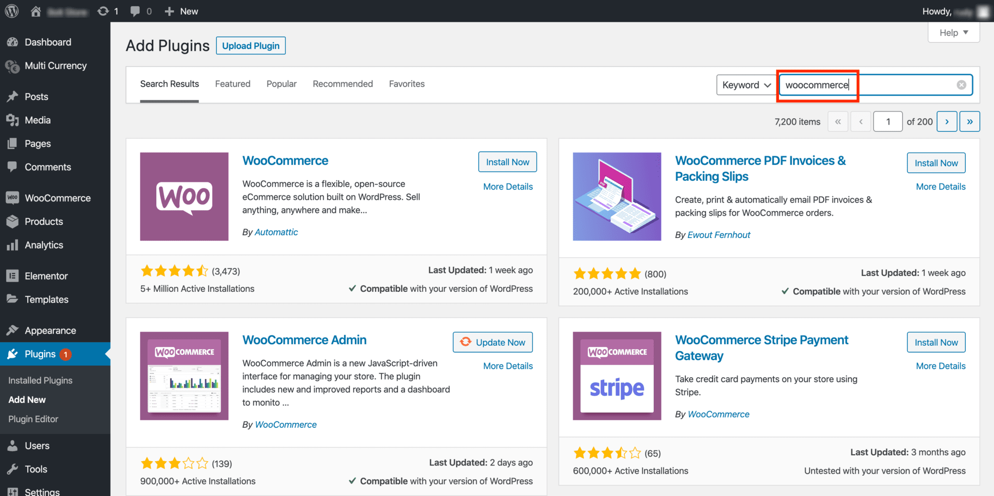 Screenshot of Add Plugins screen with WooCommerce entered into search